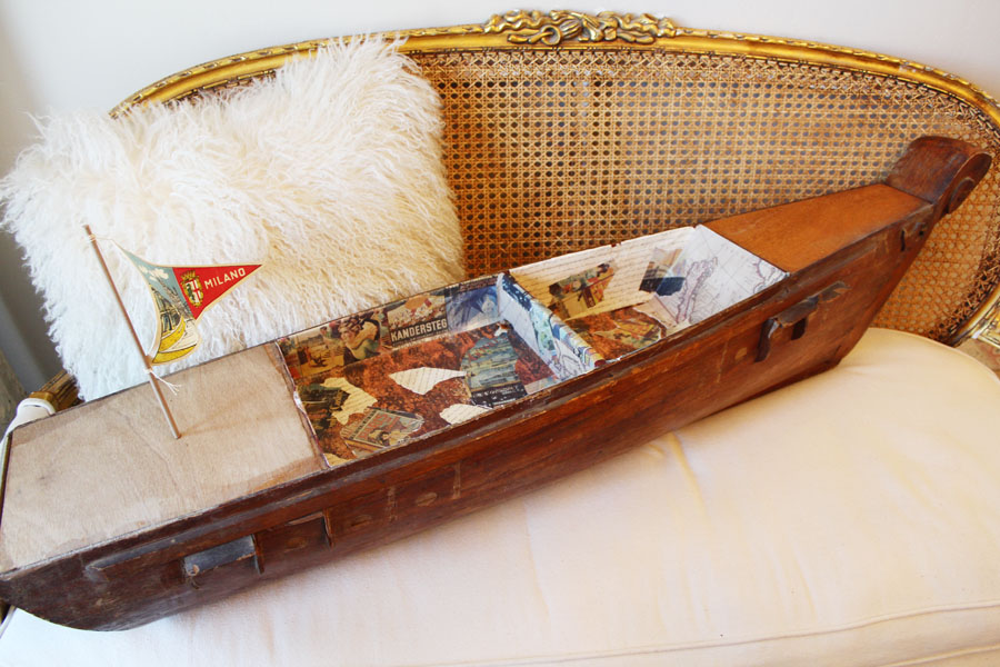 1920s Italian Handmade Xlarge Wooden Canal Gondola Boat w/Flag