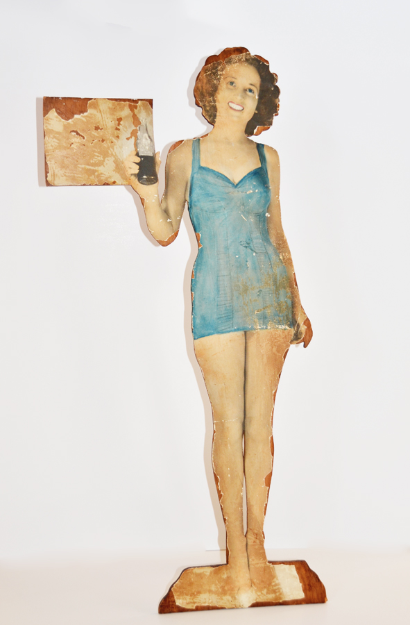 Rare Antique Coca Cola Wood Advertising Sign Mannequin-