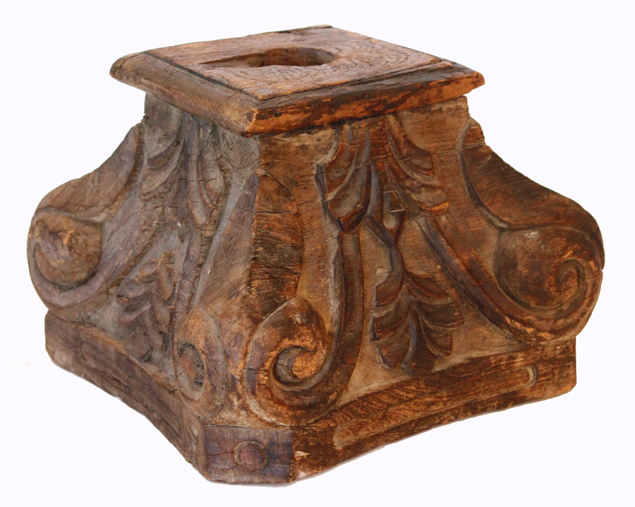Antique Carved Wood Capital Column Architetural Fragment