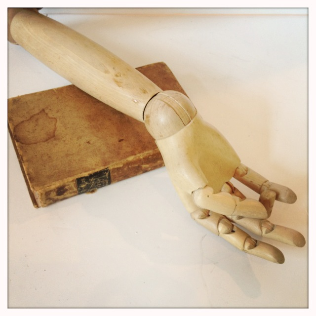 Antique French Wood Articulated/Jointed Hand w/Arm-