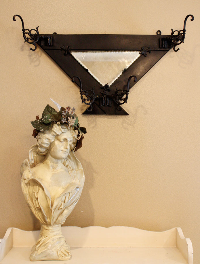 Incredible Antique Victorian Wrought Iron Mirror-