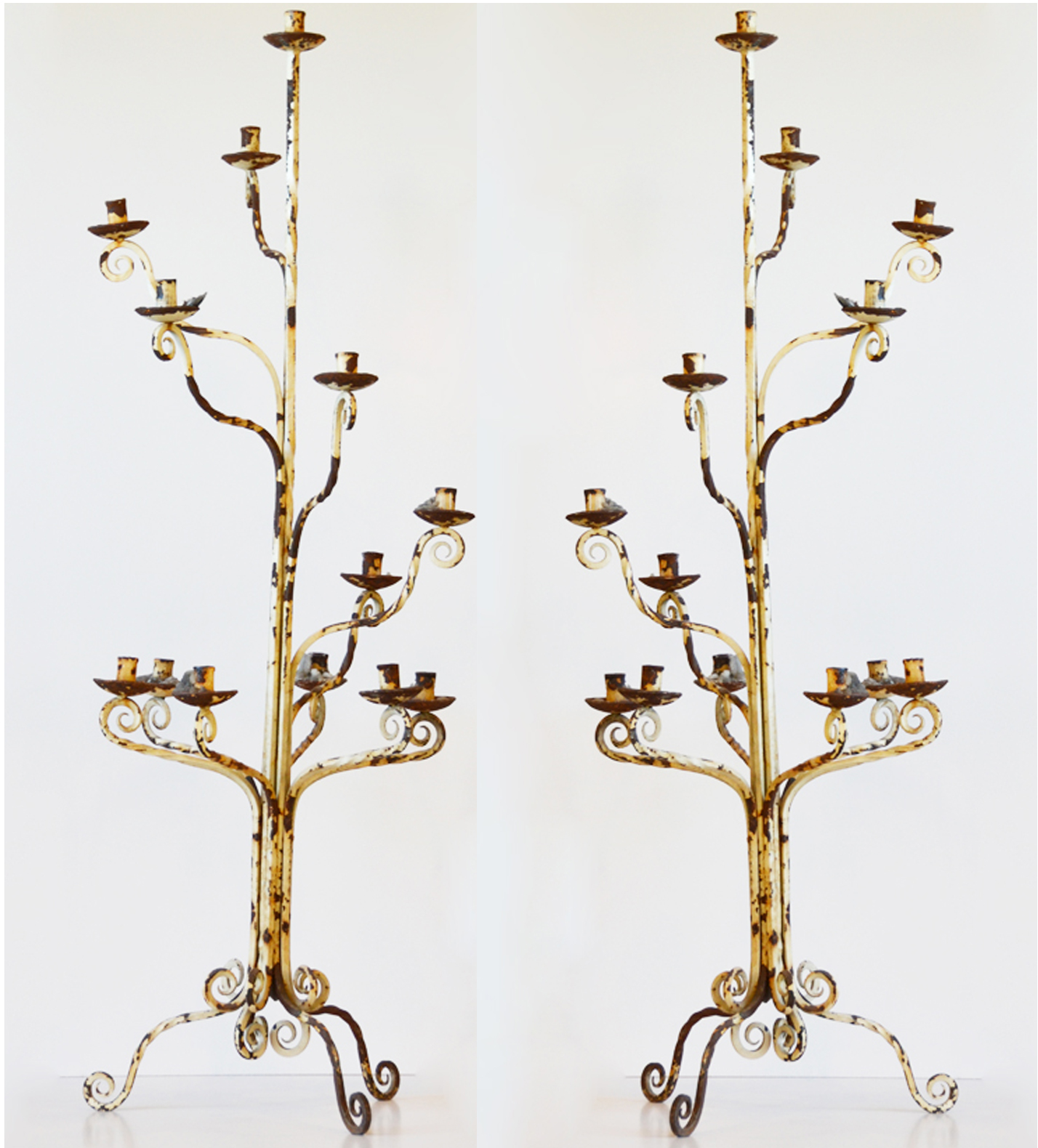 Pair Early 1800s Hand Forged Wrought Iron Floor Candelabras