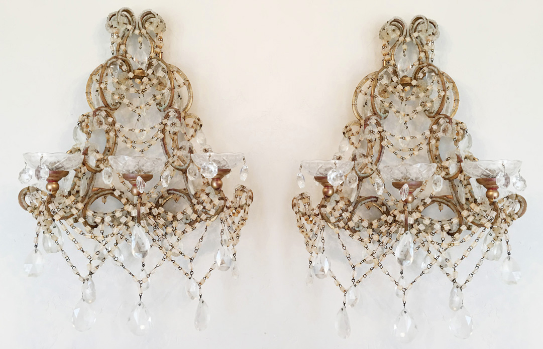 Rare Pair Vintage Three Arm Beaded Crystal Wall Sconces