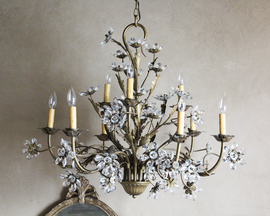 Grand Italian Tole Beaded Flower Prisms Xlrg Chandelier-