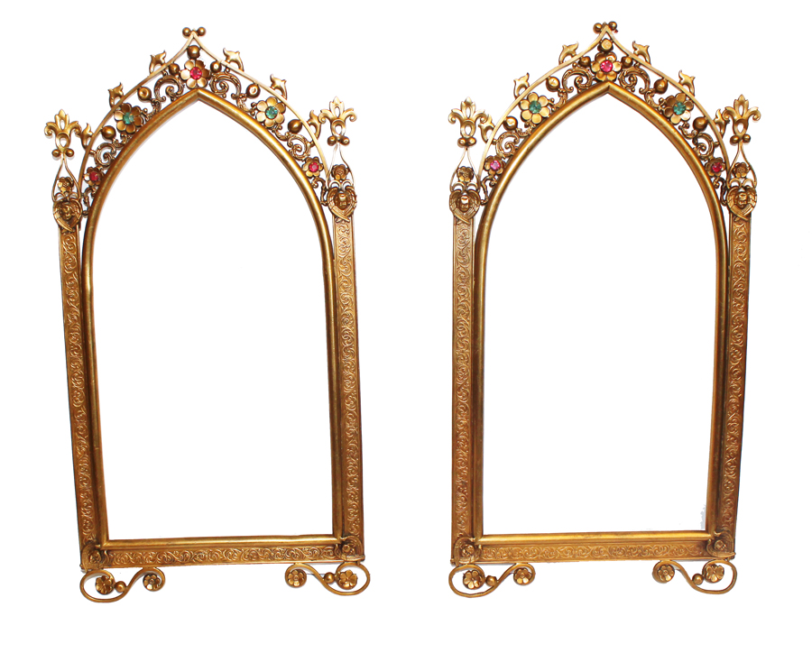 Incredible Pair Xlrg Antique Victorian Jeweled Picture Frames