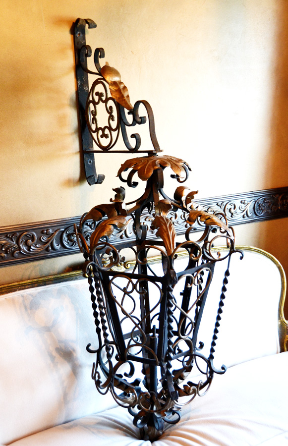 Impressive Antique Italian Tole & Wrought Iron Lantern Corbel-