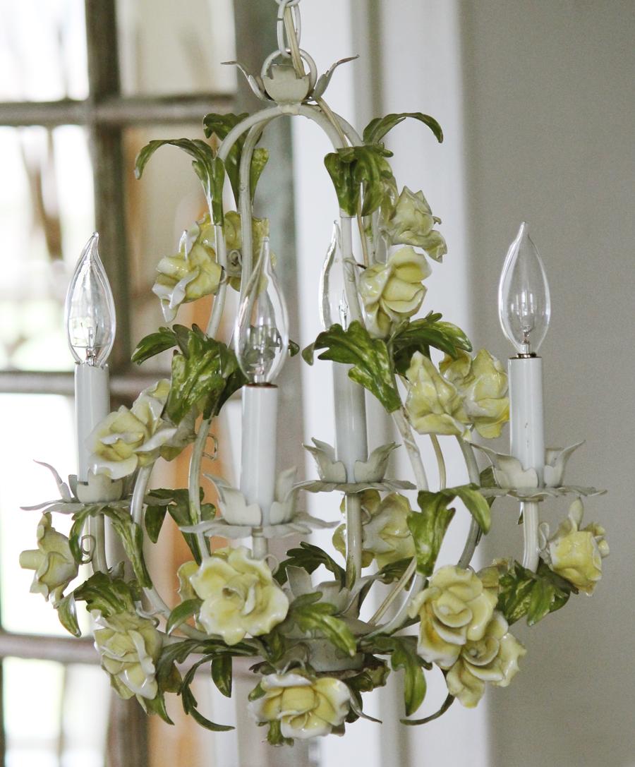 Antique Italian Tole Yellow Porcelain Roses Chandelier