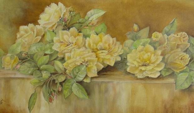 Antique YARD LONG OIL PAINTING Framed Lying ROSES 2die4-