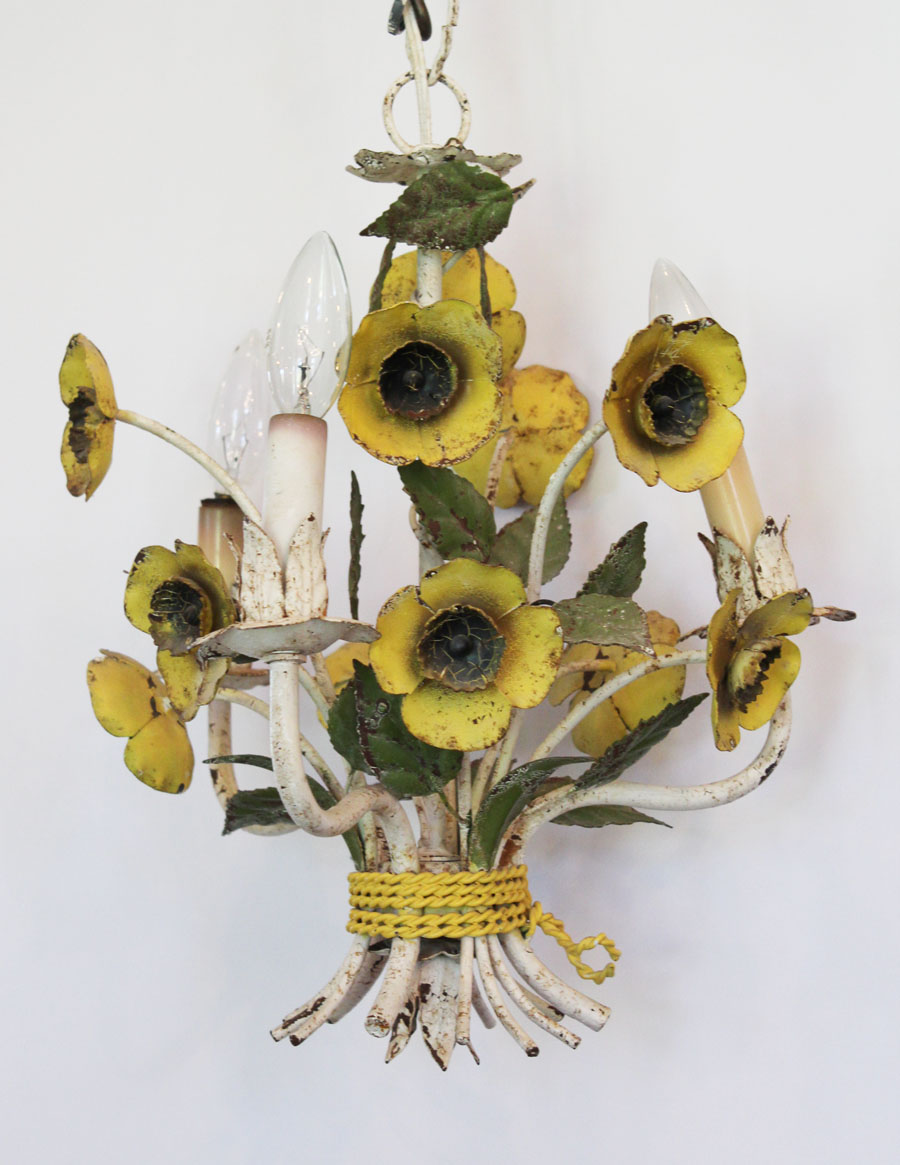 Italian Tole Yellow Poppies Antique Chandelier