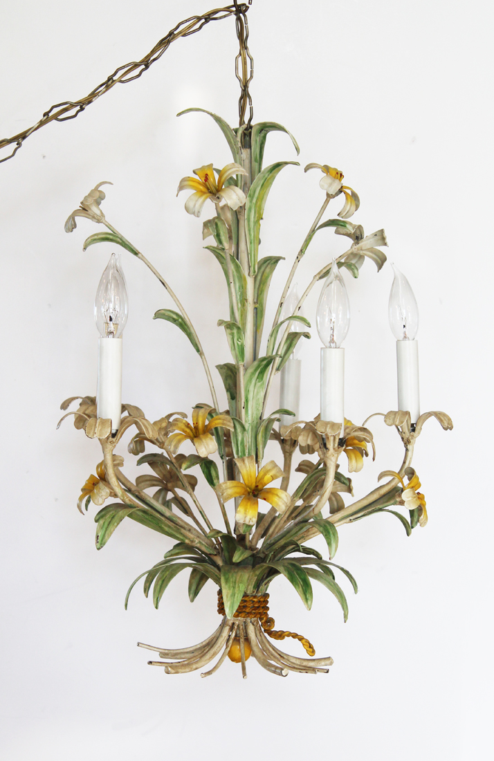 Gorgeous Italian Tole Original Paint Lily Chandelier