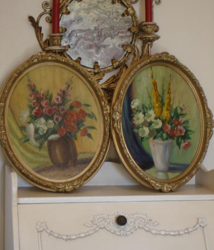 Pair Antique Framed Floral Oil Paintings C 1920s Gorgeous